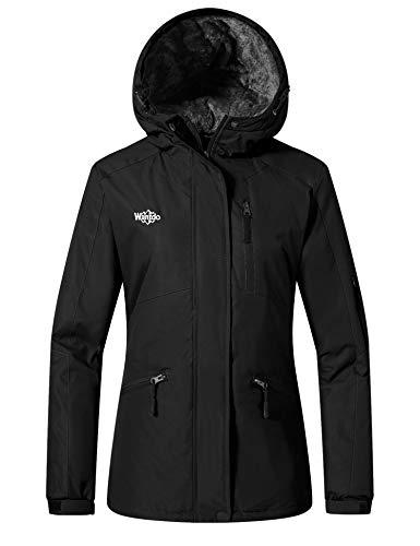 Wantdo Damen Berg Ski Jacke wasserdichte Regenmäntel im Freien Warme Winter-Schneejacken Winddichter Sportmantel mit Kapuze Schwarz XXL