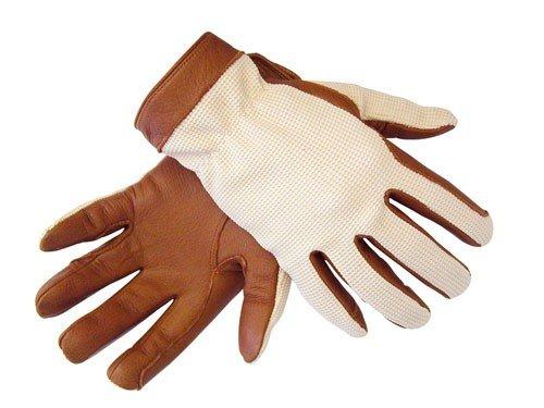 HKM Sports Equipment GmbH - Guanti da equitazione in pelle di nappa bovina, colore: marrone/beige, taglia: L