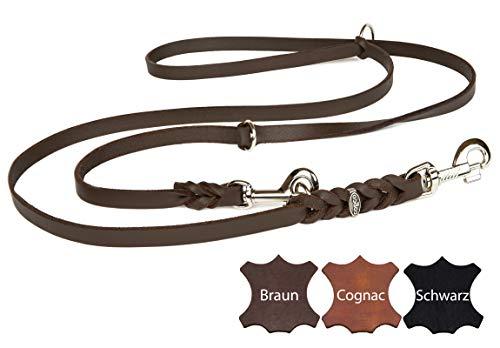 CopcoPet - Fettlederleine, Braun, 2,40 m x 8 mm, verstellbare Hunde-Leine aus Leder mit verchromten Karabinern, geflochtene Hunde-Führleine Leder für Hunde bis 15 kg