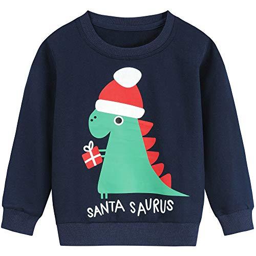 Little Hand Baby Jungen Pullover Sweatshirt Kinder Dick Warme Weihnachtspullover Weihnachtspullis Streetwear Oberbekleidung 2-7 Jahre (92, Weihnachts-Dinosaurier)
