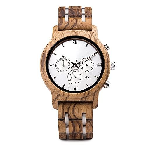 yuyan Reloj de Madera de Negocios para Hombres Deportes Movimiento de Cuarzo japonés Mano Hecho a Mano Zebra Madera Madera Natural Combinación de tecnología y Naturaleza Navida
