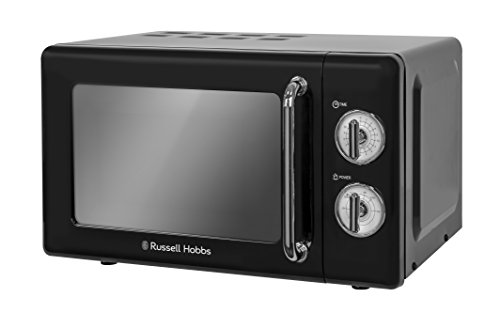Russell Hobbs RHRETMM705B 17 L 700 W Black Compact Retro Solo Manual Microwave with 5 Power Levels, Timer, Defrost Setting, Easy Clean