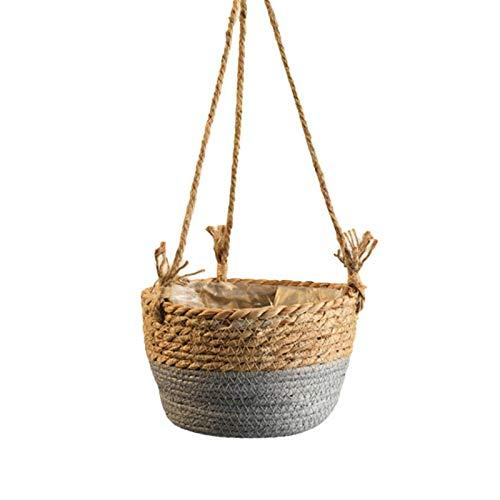 2 cestas colgantes de yute, cesta de plantas tejida a mano con forro de plástico, soporte decorativo para macetas para colgar en la pared, organizador de almacenamiento para el hogar, color gris