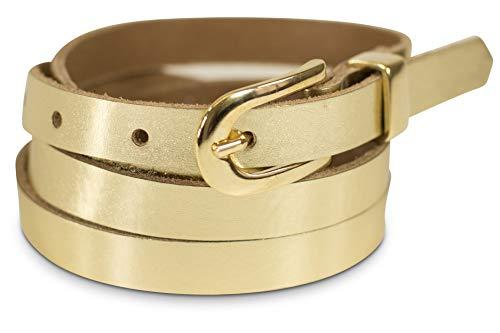 fashionchimp ® Basic Damengürtel aus 100% echtem Leder, schmaler Gürtel, Breite ca. 1,5cm, Made In Germany (Gold, 130/BW115)