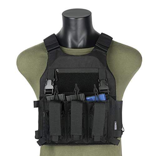OneTigris Low Profile Tactical Vest & Triple Kangaroo Magazine Pouch for 5.56 7.62 Mags and 9mm Pistol Mags