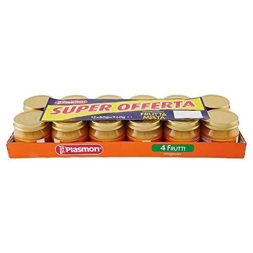 Plasmon Omogeneizzato 4 Frutti, 12 x 80 g