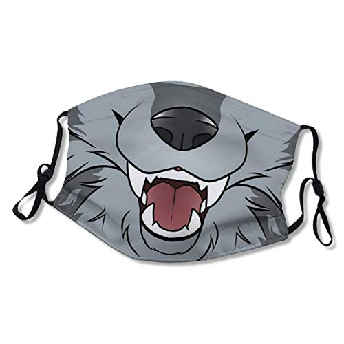 Grey Wolf Maw XL Face Mask Dust Mask Filter Pocket Face Coverings Layers Reusable & Washable (2 Filters)