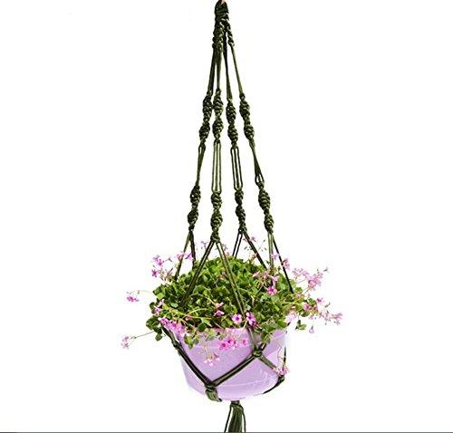 Mackur Retro Blumenampel Makramee Blumenampel Seil Dual-Blumenampel Pflanze Hanger Korb Halter für Garten Balkon Dekorative Gegenstände 1 Stück (Grün)