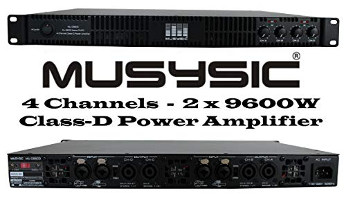 Save %57 Now! MUSYSIC MU-D9600 Professional 4-Channels 2x9600 Watts D-Class 1U Power Amplifier