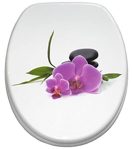 WC Sitz mit Absenkautomatik, viele schöne WC Sitze zur Auswahl, hochwertige und stabile Qualität aus Holz (Orchidee)