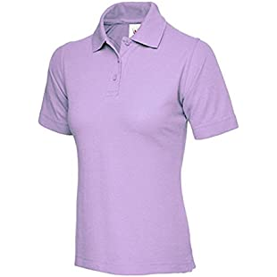 Ladies Pique Polo Shirt Size UK 8 to 26 Plus NEW Casual Sports Gym Work (UK 14 (L), Soft Lilac)