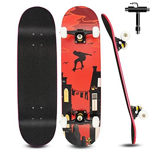 Skateboard para Principiantes Niños Adultos 79 X 20 Cm, Monopatin Completo de 7 Capas de Madera de Arce para Niños y Niñas, con Rodamientos ABEC-7 y Herramienta en T de Skate Todo en Uno