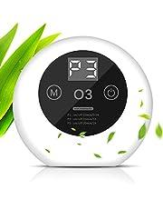 ACADGQ Draagbare luchtreiniger, ultrastille ozongenerator, luchttionisator met led-display, antibacterieel, 99% ontgeuring, tot 50 m³, voor thuis, kantoor, huisdieren, keuken, wit