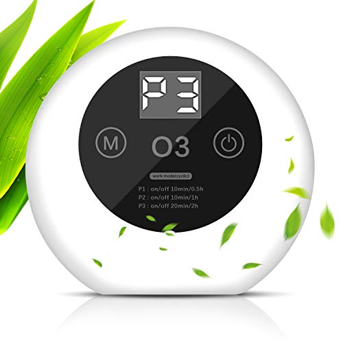 ACADGQ Purificador de Aire Portátil,Ultrasilencioso Generador de Ozono,Ionizadores de Aire con LED Display,Antibacteriano 99% Desodorizando, hasta 50m³ para el hogar Oficina Mascotas Cocina -Blanco