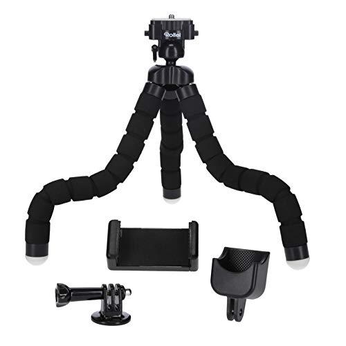 Rollei Monkey Pod Set - Mini Stativ mit flexiblen Beinen inkl. Kugelkopf, Smartphone -, DJI Osmo Pocket - und Actioncam-Halterung, schwarz 27cm hoch