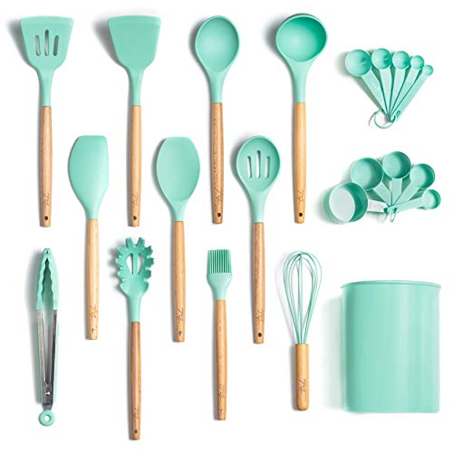 ODORLESS 13 Pc Silicone Cooking Utensil Set with Holder (Teal/Turquoise/Blue, Beech Wood Handle) - Kitchen Gift Cookware Tools and Utensils Sets w Spatula Tool, Spoons | Silicone w Wooden Handles