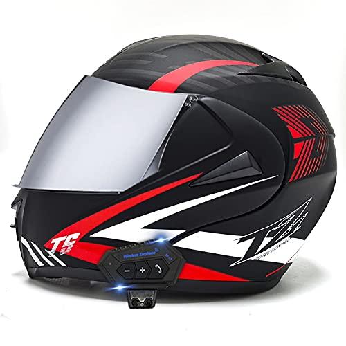 AI FAN Casco Moto Modular Cascos Flip Up Motocicleta ECER 22-05 Aprobado con Doble Visera Anti Niebla HD Bluetooth Incorporado ABS Respirable Adultos 53-62cm