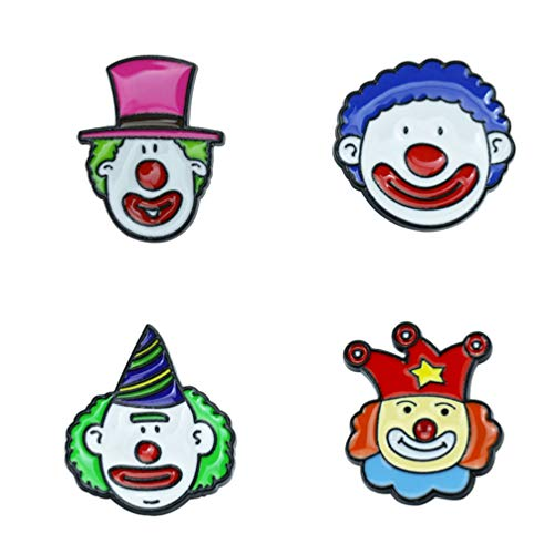 Amosfun 4Pcs Niedliche Zirkus Clown Emaille Revers Pins Broschen Pins Karneval Zirkus Partei Begünstigt Geschenke Schmuck