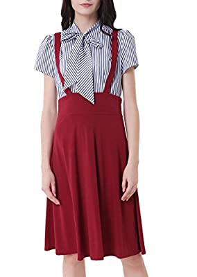 Women's Vintage Overall High Waist A-Line Suspender Skirt Pleated Pinafore Dress