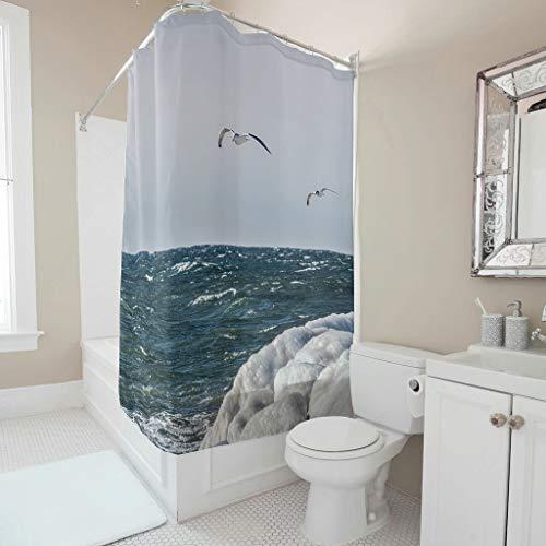 Gamoii Meerwasser Ufer Winter Taube Duschvorhang Bad Gardinen 3D Digital Badezimmer Vorhang Wasserdicht Badvorhang mit Ringe White 150x180cm
