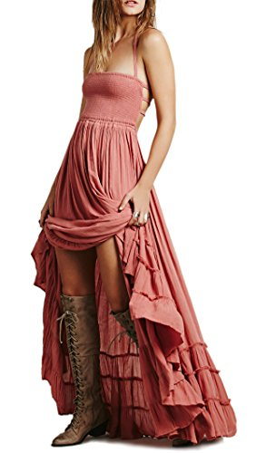 R.Vivimos Womens Summer Cotton Sexy Blackless Long Dresses Small Pink