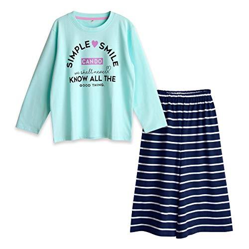 パジャマ ガールズ 綿100% Tシャツ 柔らかい 快適 上下セット ガウチョパンツ 長袖 プリント 春 夏 秋 肌に優しい 通気性 ルームウェア サックス 160