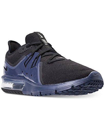 Nike AIR MAX Sequent 3 S Running Shoes (11, Black/Black-Navy Blue-White)