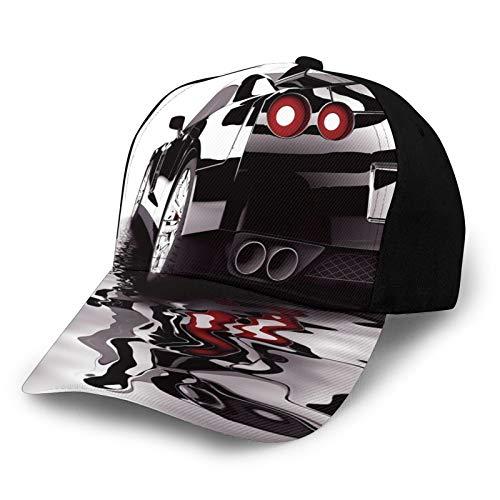 FULIYA Gorra de béisbol lisa lavada, estilo de vida retro ajustable, para coche moderno negro con reflexión de agua, estilo de vida