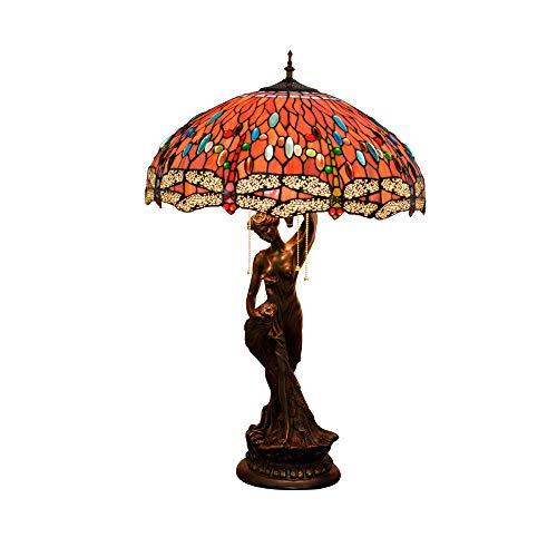 YHDM Rote Perle Libelle Tiffany Tischlampe Retro Französisch Barock Rokoko Stil Schreibtisch Licht...