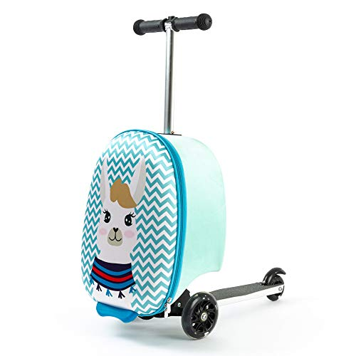 Kiddietotes Lightweight Carry-on Scooter Suitcase for Girls - Kids Luggage with LED Light Up Wheels - Llama