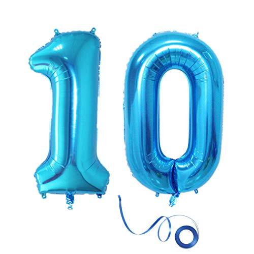 Haosell Party Folienballon Zahl 10 Blau Helium Luftballon Nummer 10 Geburtstag Nummer 10 Geburtstag Party Dekoration Luftballon Geburtstag XXL Folienballon 40
