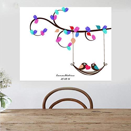 DIY Doodle Bruiloft Getuige Partij Verjaardag Vingerafdruk Aanwezigheid Teken in Prinses Tak Vogelpatroon Home Decor Souvenir Behang Beeld 30x40cm