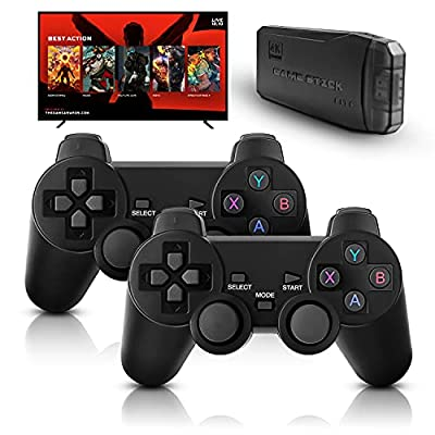 M8 Retro Game Console, Built-in 10000+ Games, Wireless 4K HDMI Plug and Play Video Game Stick, 2 Wireless Gamepads - 64G by Daeilifint
