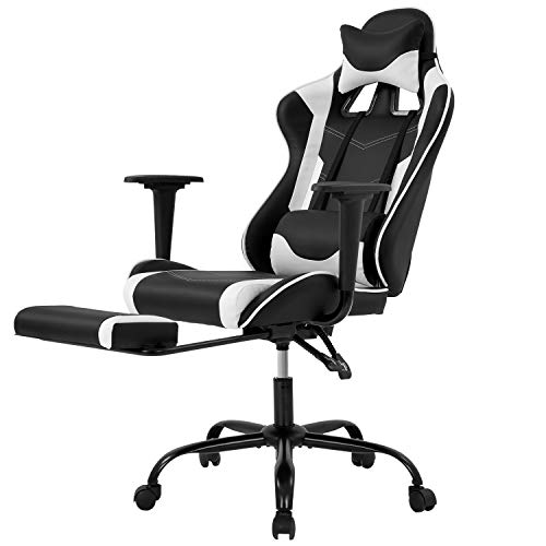 Racing Gaming Chair, High-Back PU Leather Home Office Chair Desk Computer Chair Ergonomic Executive Swivel Rolling Chair with Arms Lumbar Support for Men(White)