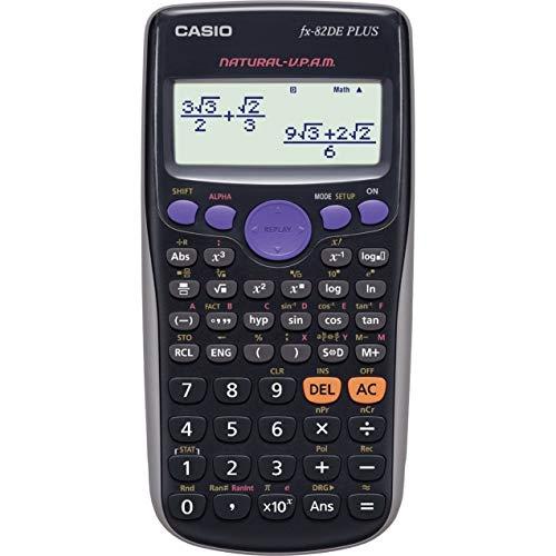 Casio FX-82DE Plus technisch-wissenschaftlicher Rechner mit natürlichem Display, schwarz