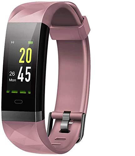 Lintelek, Fitness Tracker, con cardiofrequenzimetro, 14 modalità di Sport programmabili, Orologio Smart con Bluetooth e contapassi, per Uomo, Donna e Bambino (Pink)