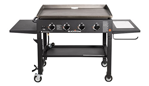 Blackstone 36 inch Outdoor Flat Top Gas Grill Griddle Station - 4-burner - Propane Fueled - Restaurant Grade - Professional Quality - With NEW Accessory Side Shelf and Rear Grease Management System