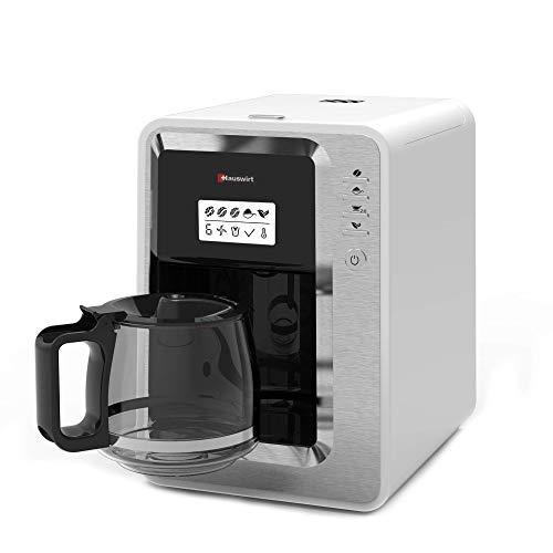 Hauswirt Cafetera, máquina cafetera de filtro con molinillo y función de Bloom, 3 tamaños de molinillo, depósito de agua extraíble, placa de calentamiento, jarra de 30 Oz, capacidad para 2-6 tazas