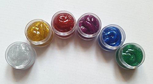 New Nail Art Lot de 6 pots de 10 ml de paillettes acryliques argentées, dorées, rouge, violet, bleu et vert