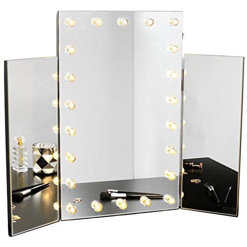 Beautify Miroir de Maquillage Triple Style hollywoodien avec éclairage LED pour Coiffeuse, Table de Maquillage et Salle de Bain