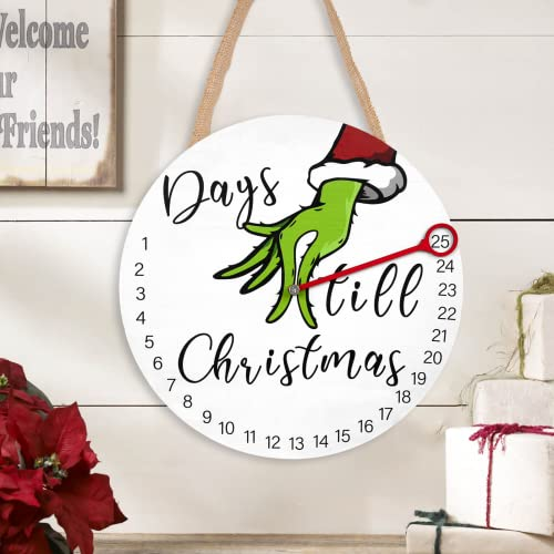 Grinch Christmas Decorations   12'' Hanging Christmas Advent Calendar 25 Days Until Christmas for All Ages   Wooden Christmas Wreath for Front Door/Wall Décor   Christmas Welcome Sign