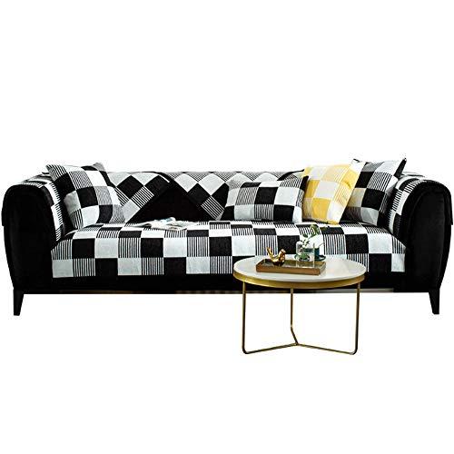 Chenille Schwarz Weiß Plaid Sofa Haustier Couchbezug rutschfeste Fleckenbeständige Maschinenwaschbare Möbelschutzfolie,schwarz,110 * 110