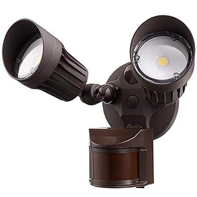 LEONLITE LED Security Lights, Motion Sensor Flood Light Outdoor, 20W(150W Equiv.), Waterproof IP65, 3000K Warm White, ETL & DLC Listed, Adjustable 2-Head Outdoor Lighting, Brown