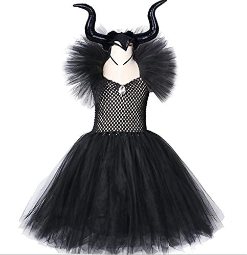 Black Hexe Kostüm Wing Horns Kind Mädchen Tutu Kleid Knöchellänge Halloween Teufel Cosplay Kleidung für Kinder Party Foto Prop Gift (Color : B, Größe : S)