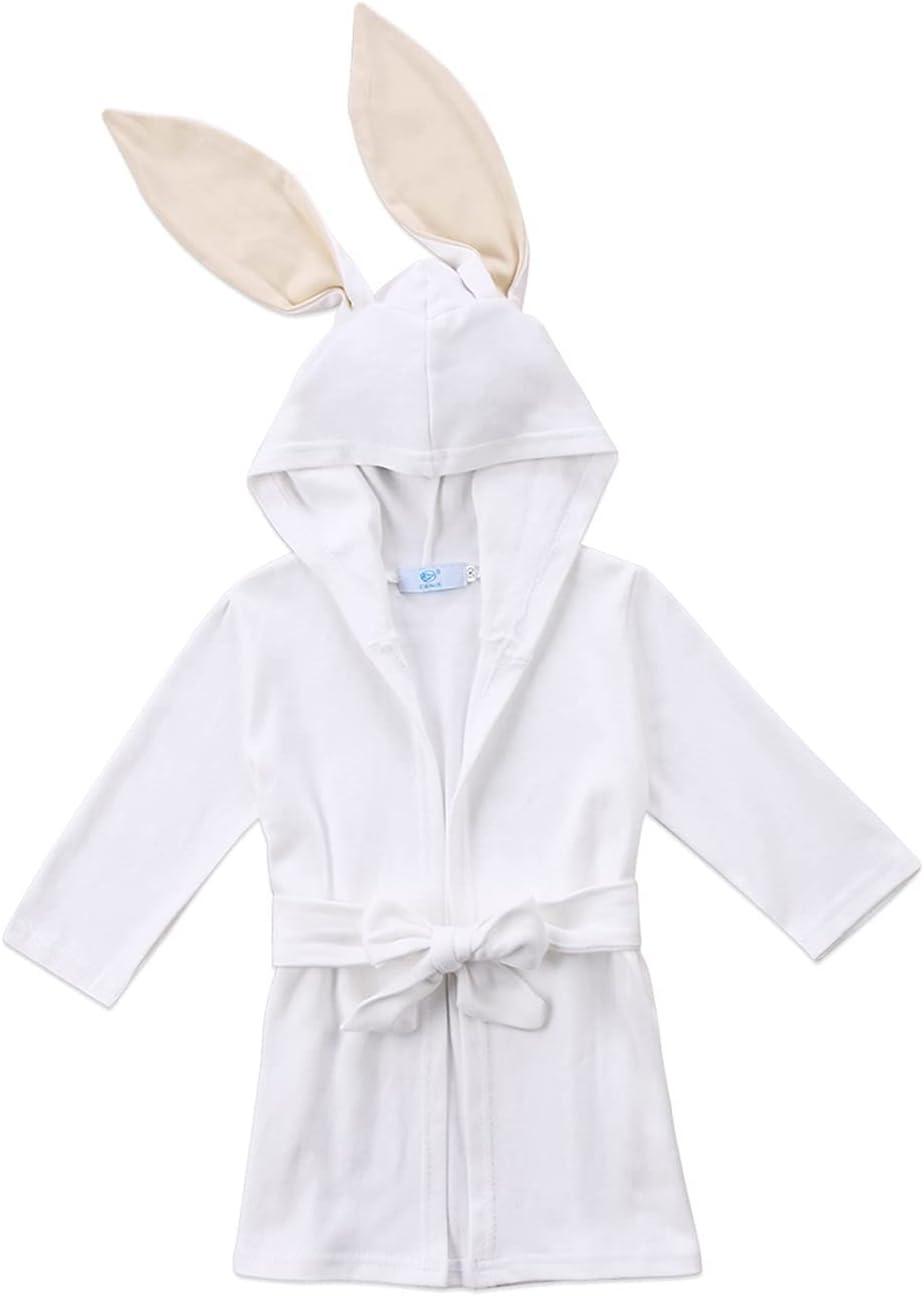 GDYJP White Bunny, Bathrobe Kids Baby Boy Girl Bathing Gown Soft Cloth Hooded Towel Robe Pajamas Children's, Bathrobe 1-4T (Color : White, Kid Size : 1years)