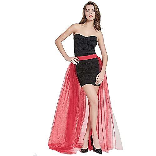junmo shop Falda de tul desmontable para mujer, longitud del piso, vestido...