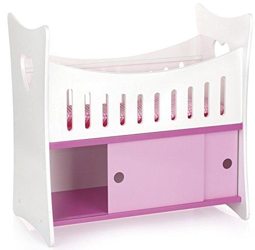 Leomark Letto per bambole con mobile, lettino per bambole in legno classico, armadio per gli accessori, culla con materasso, armadietto giocattoli rosa, dimensioni: 51,5 x 29,5 x 50,5cm (LxPxA)