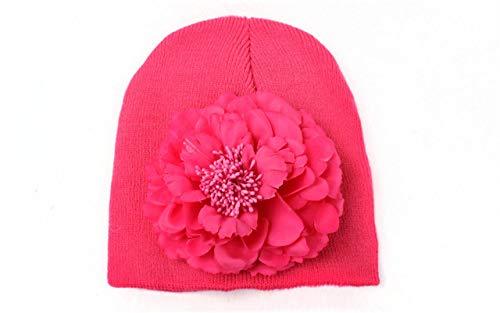 LYPPP HutBaby-Kappen-Baumwollstrickender Baby-Blumen-Hut-große Blumenhüte für Baby-Herbst-Winter-Kindermützen-Kappen, Rose