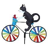 BIBOKO Adorno de jardín para bicicleta de dibujos animados, para exteriores, para gatos, perros, bicicletas, jardín, molinos de viento, decoración para balcón, patio, césped