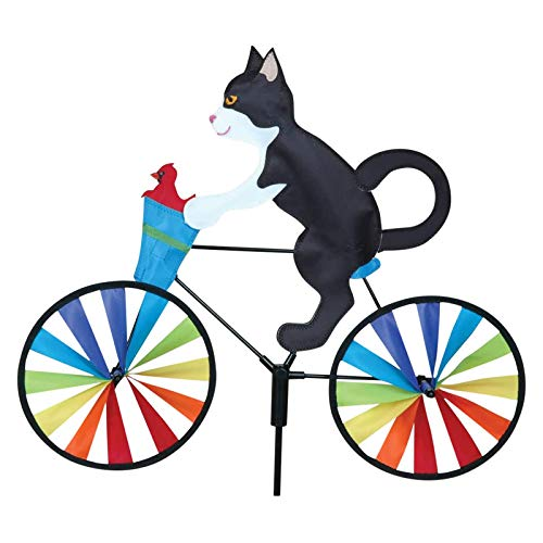 liumeng Cartoon Bike Spinner Garden Ornament Outdoor Cat Dog Bicycle Garden Stake for Balcony Patio Yard